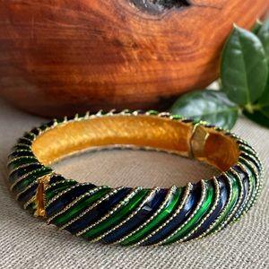Vintage Green Blue Enamel Hinged Bangle Bracelet